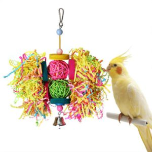 RYPET Bird Swing - Wooden Conure Toys Bird Cage Hammock Swing Hanging Toy for Small Parakeets Cockatiels, Conures, Macaws, Parrots, Love Birds, Finches