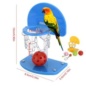 Womdee Bird Training Toy, Parrot Activity Toys with Mini Basketball Stands, Bird Chew Bites for Small Parakeets Cockatiels, Conures, Macaws, Parrots, Love Birds, Finches
